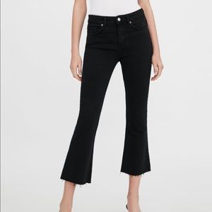 BNWT Zara Mid-rise flared cropped jeans 00 black